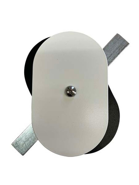 """3""""x5"""" Flat Oval White Steel Hand Hole Cover"""