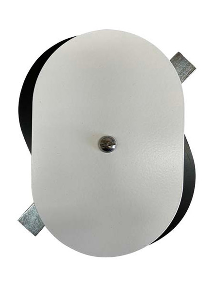 """4""""x6"""" Flat Oval White Steel Hand Hole Cover"""