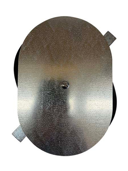 """5.25""""x7.75"""" Flat Oval Galvanized Steel Hand Hole Cover"""