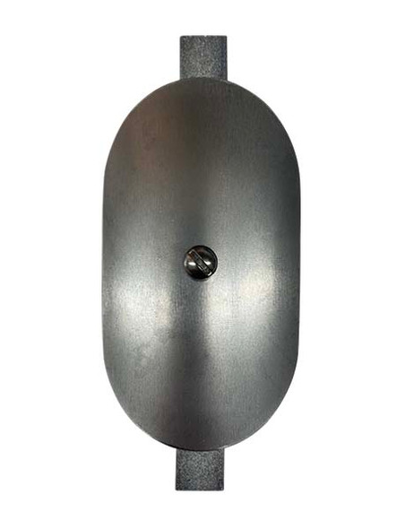 """3""""x5"""" Curved Oval Unfinished Steel Hand Hole Cover - 5"""" Diameter Pole (Bare Metal - Requires Painting)"""