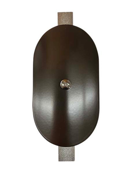 """3""""x5"""" Curved Oval Dark Bronze Steel Hand Hole Cover - 5.5"""" Diameter Pole"""