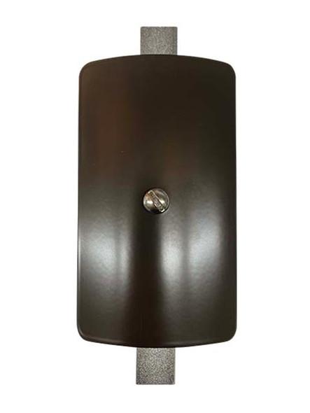 "3""x5"" Curved Rectangular Dark Bronze Steel Hand Hole Cover - 5.5"" Diameter Pole"