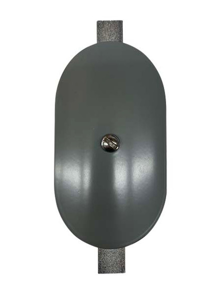 """3""""x5"""" Curved Oval Grey Steel Hand Hole Cover - 5.5"""" Diameter Pole"""