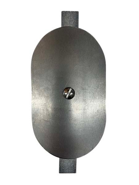 """3""""x5"""" Curved Oval Unfinished Steel Hand Hole Cover - 8"""" Diameter Pole (Bare Metal - Requires Painting)"""