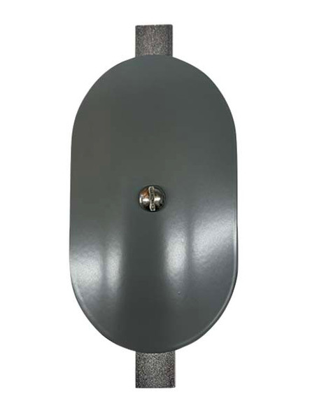"""3""""x5"""" Curved Oval Grey Steel Hand Hole Cover - 8"""" Diameter Pole"""