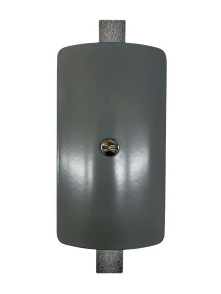 """3""""x5"""" Curved Rectangular Grey Steel Hand Hole Cover - 4.5"""" Diameter Pole"""