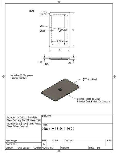 """3""""x5"""" Tamper Proof Rectangular Dark Bronze Steel Hand Hole Cover - 1/4-20 Screws"""