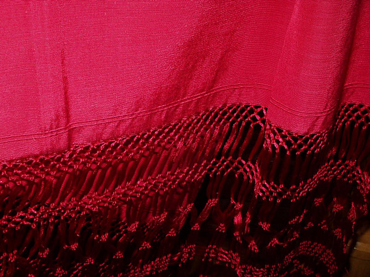 Antique Edwardian 1920 Fuchsia Rayon Silk Fringe Shawl Wrap