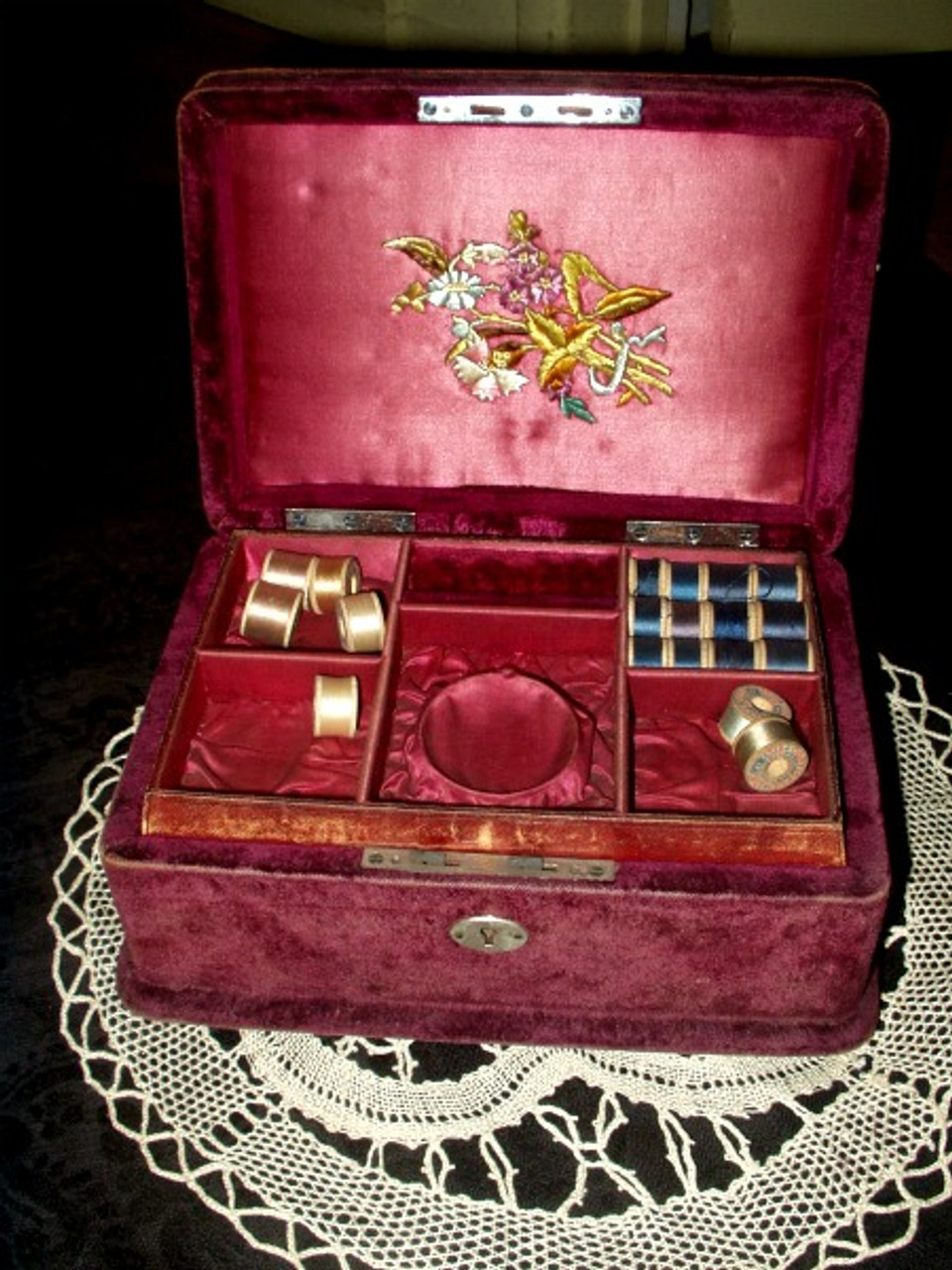 19th Century Victorian Engraved Plush Velvet Sewing Box Thread Tray