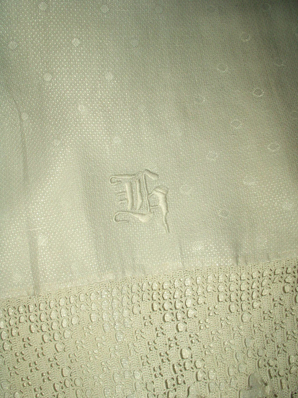 Edwardian Monogram K  Damask Hand Towel Hand Crochet Edging