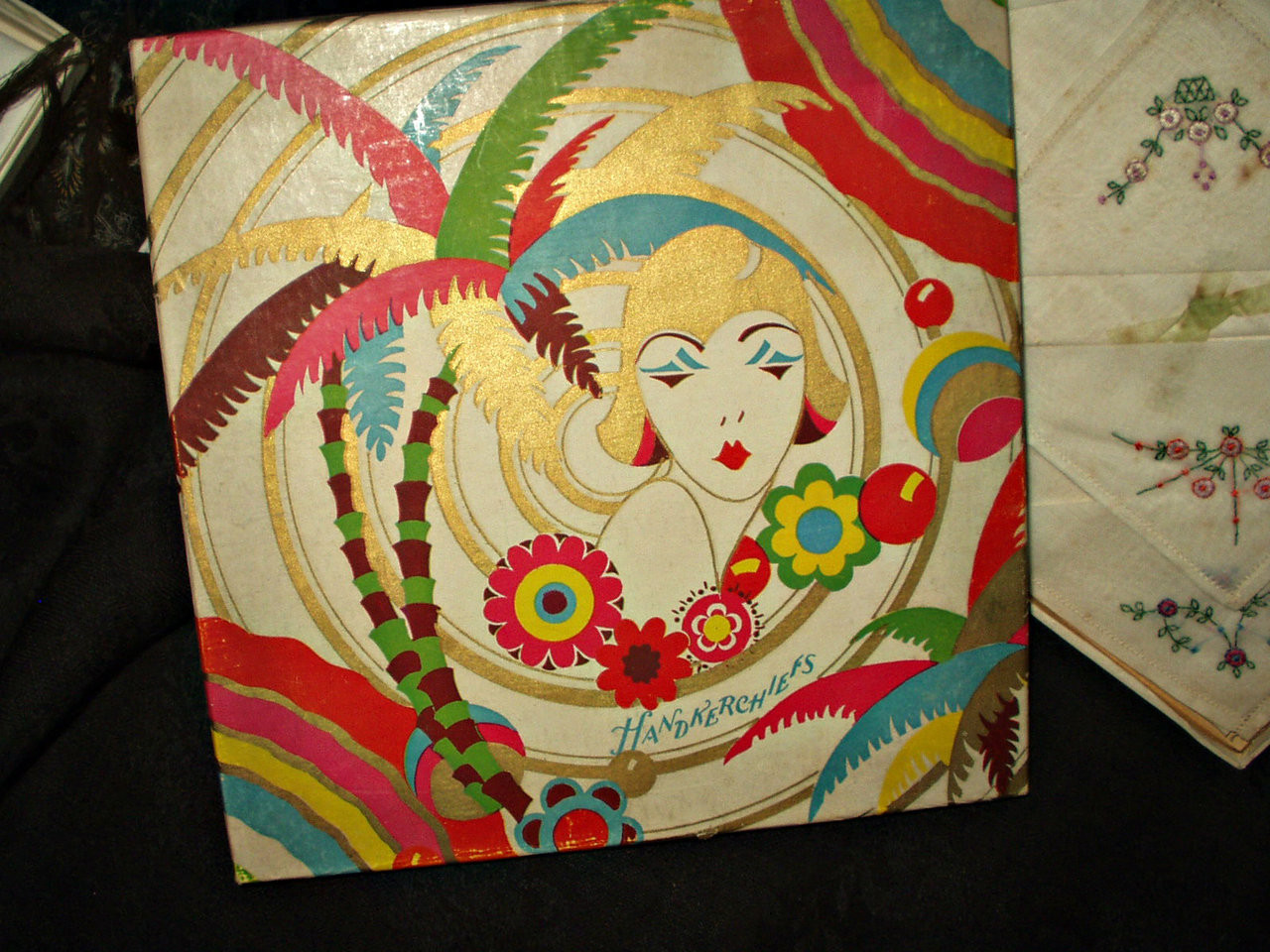 Graphic 1920s Art Deco Tropical Influence Gift Box 6 Handkerchiefs
