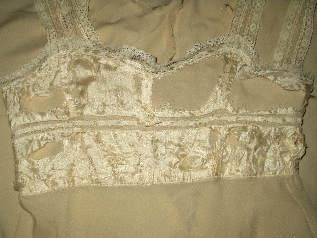Antique Edwardian 1920s Ivory Silk Crepe Chiffon Embroidery Bobbin Lace Wedding  Dress