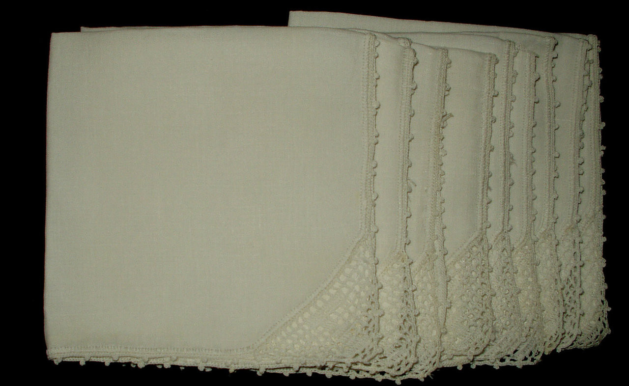 9 Vintage 1930 1950 Linen Luncheon Napkins Crochet Filet Monogram Letter F