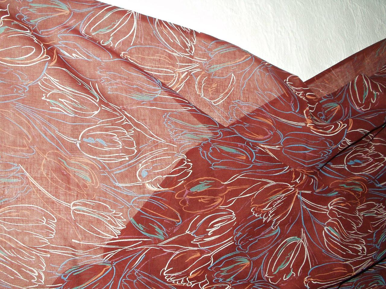 Vintage 1940 1950 Sheer Cotton Voile Tulip Motif Unused Dress Fabric