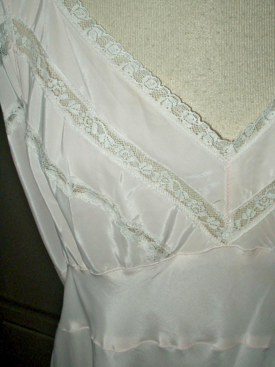Vintage 1940 1950 Pink Bias Cut Rayon Nightgown Alberta Lingerie Label