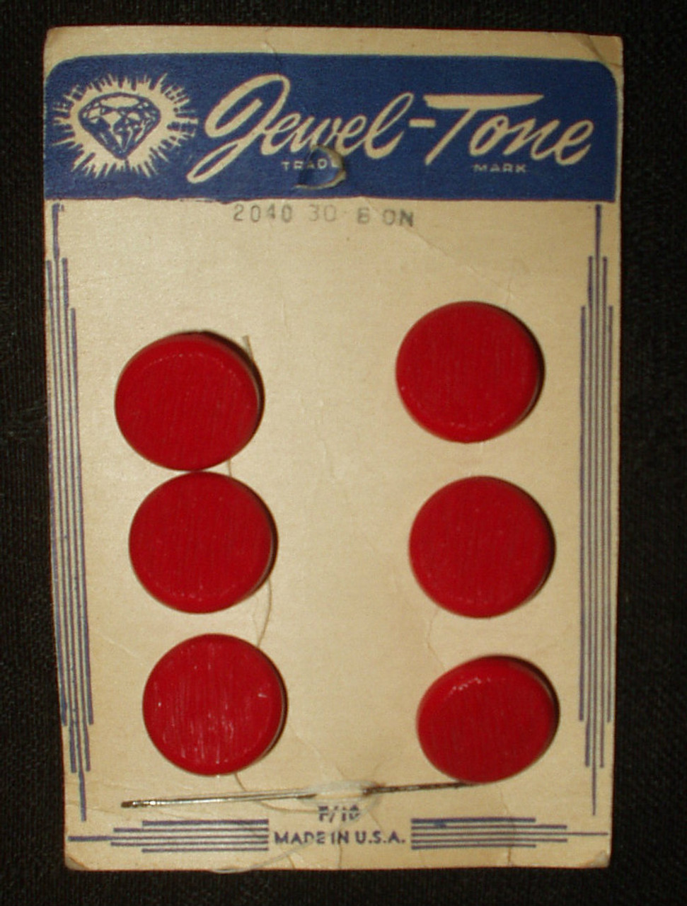 Vintage Card Jewel Tone Dress Buttons Red Plastic 1940 1950