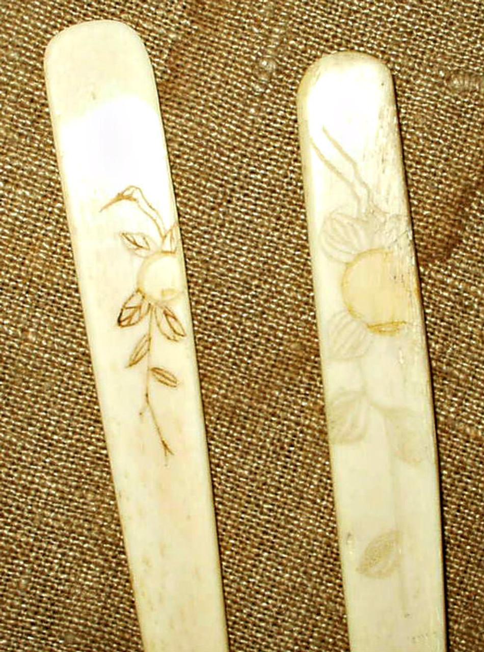 Pair Vintage Antique 1920 1930 Made In Japan Decorated Bone Crochet Rug Hooks