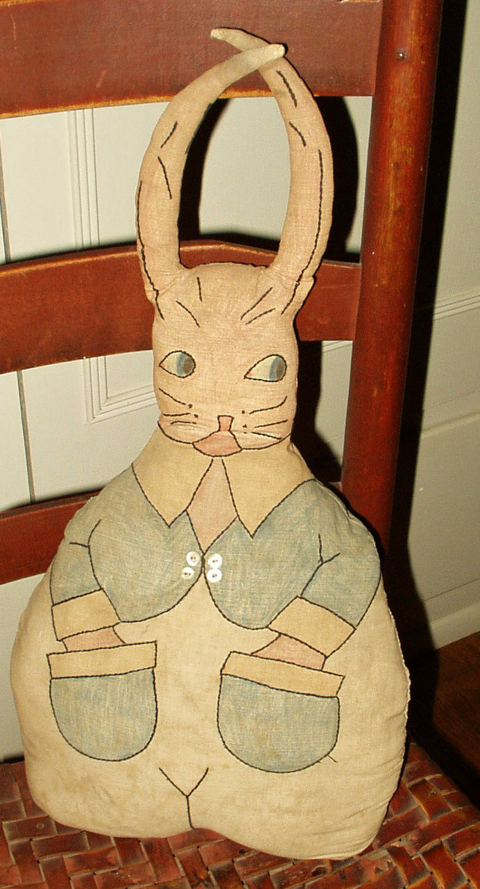 Vintage Edwardian 1900 1920 Stamped Tinted Embroidery Stuffed Bunny Rabbit