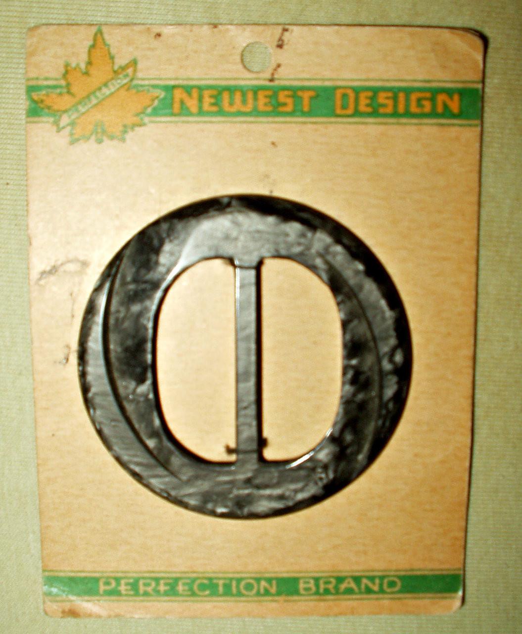 Vintage 1930 Art Deco Black Mottled Plastic Dress Buckle Slide Original Card