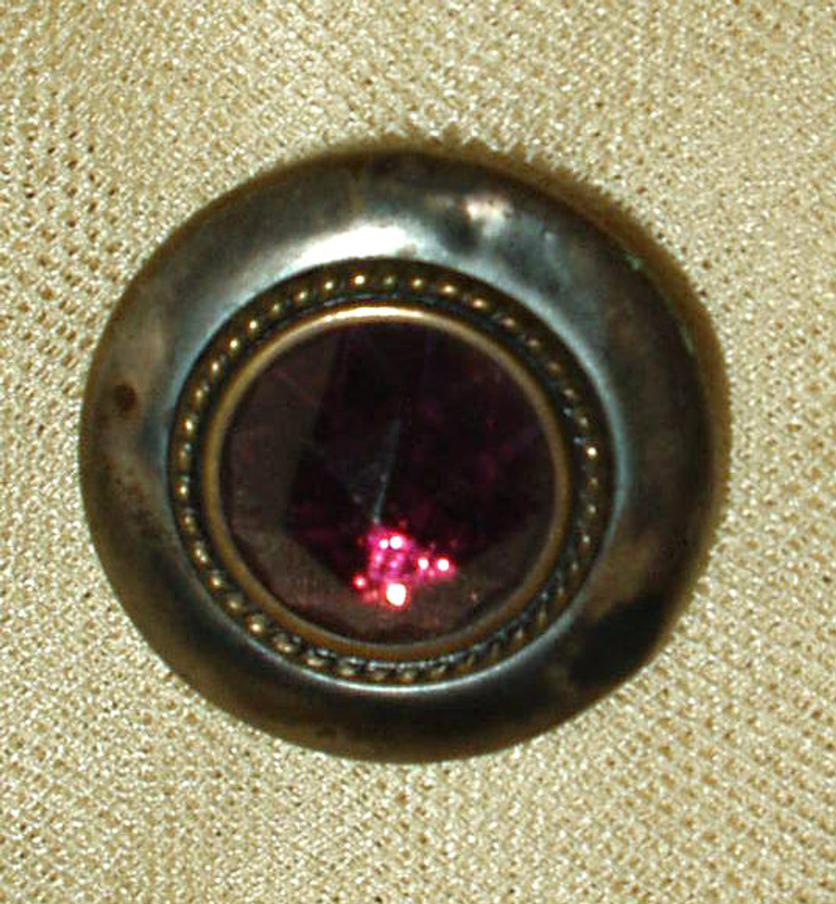 Vintage Victorian Edwardian Button Amethyst Color Faceted Glass Metal Rim