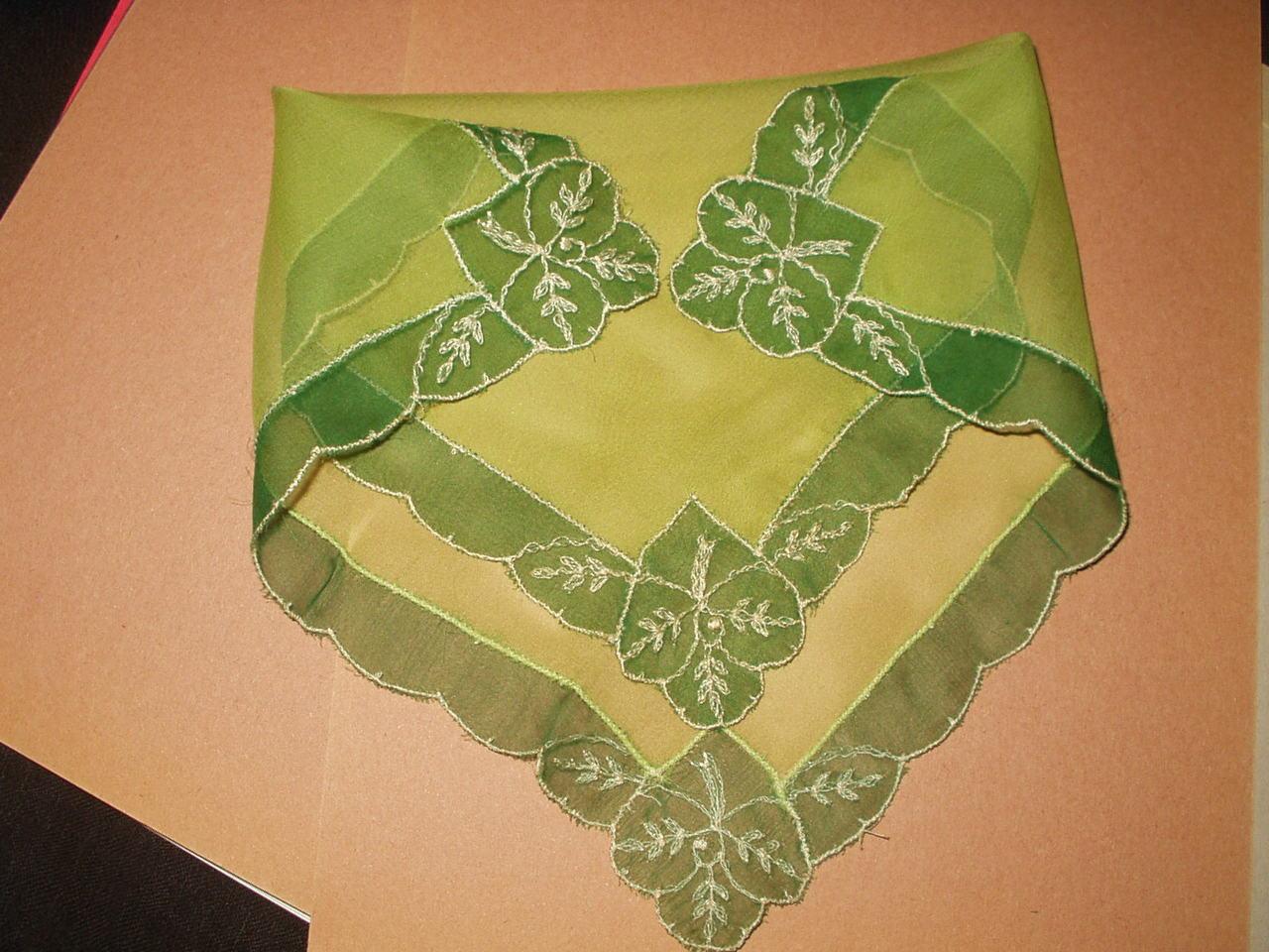 Vintage 1920 Green Silk Chiffon Handkerchief Tambour Needlelace Corners