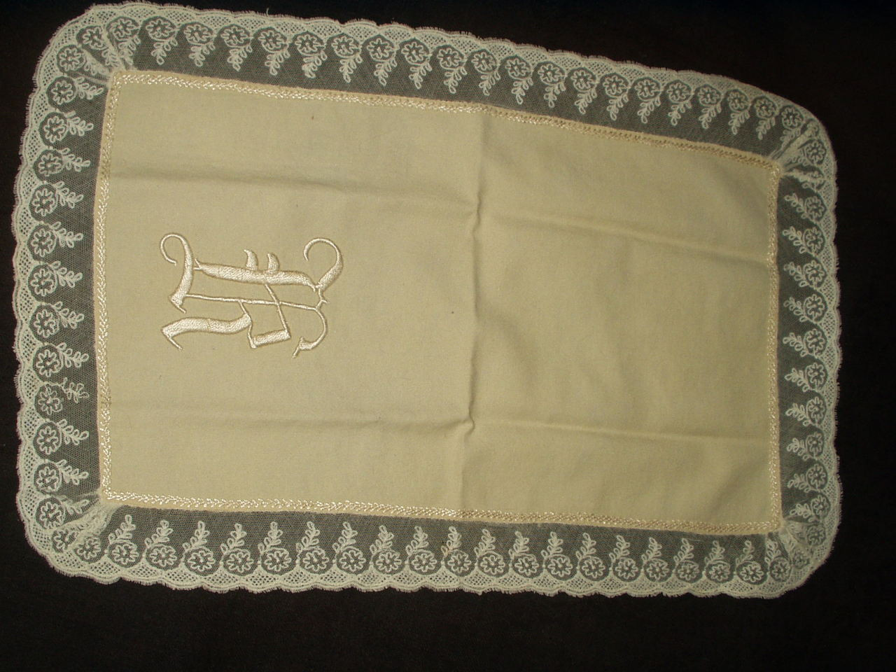 Victorian Edwardian Cream Wool Doll Blanket Monogram K Lace Embroidery