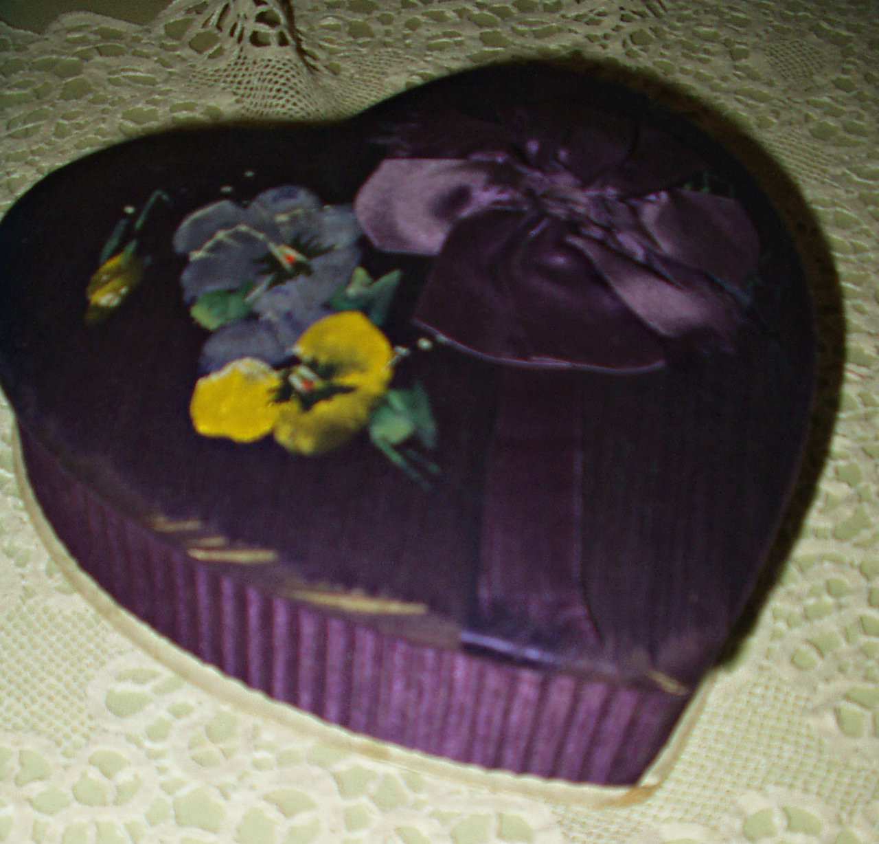 Hand Painted Pansy Purple Padded Heart Candy Box Vintage 1920s