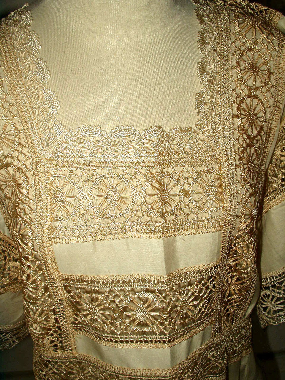 Cream Silk Edwardian 1920 Lingerie Nightgown Wide Bobbin Lace Insets