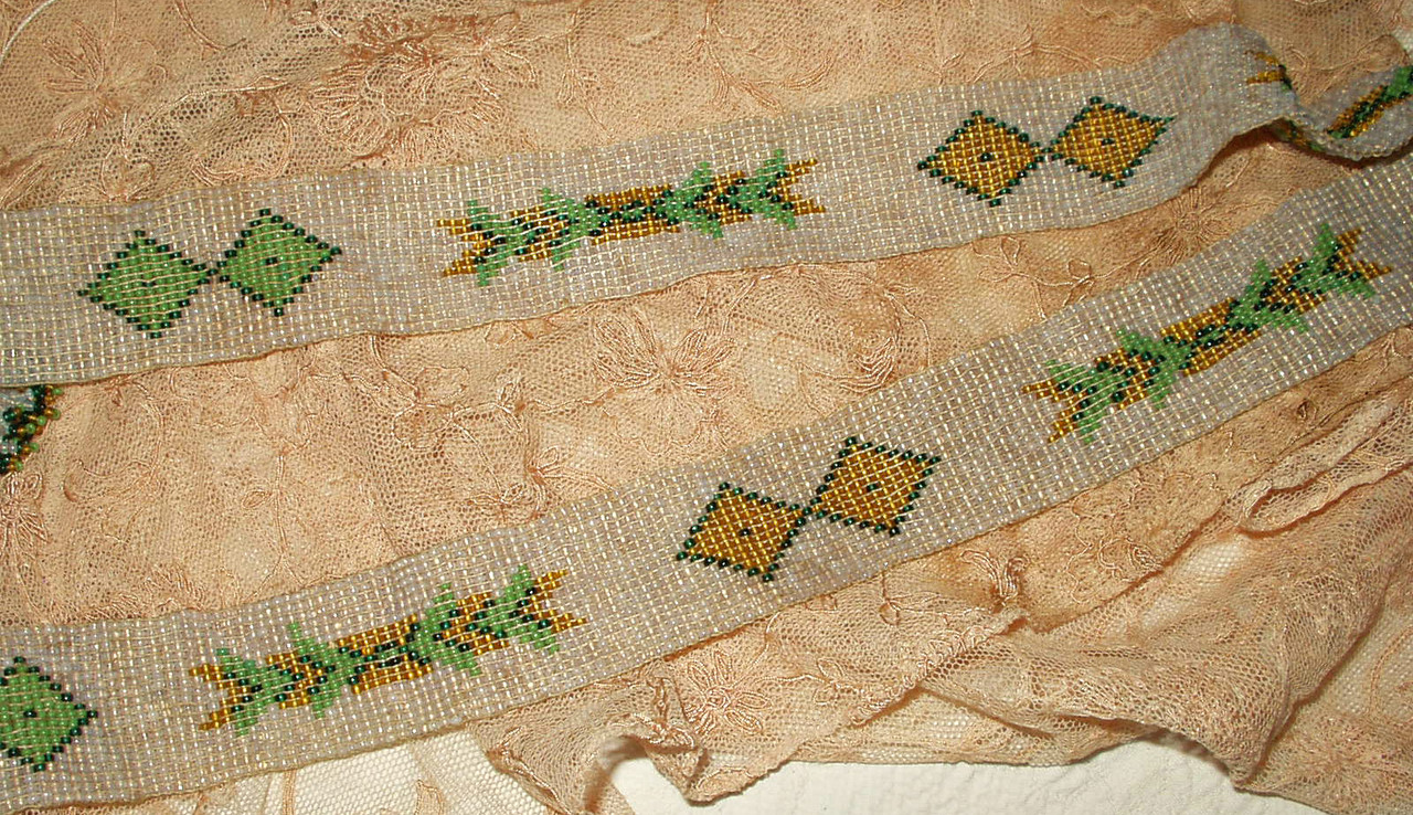 Vintage Art Deco 1920 Beaded Belt Sautoir Necklace Woven Geometric