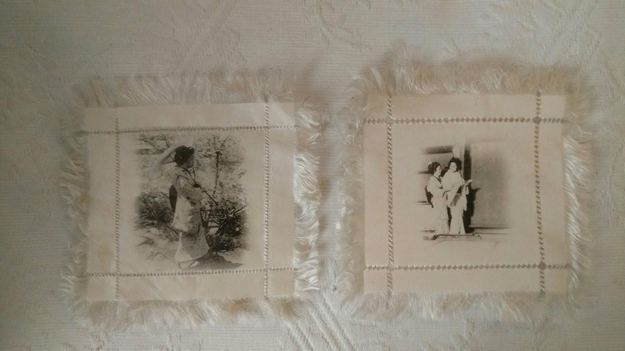 2 Victorian Oriental Doilies Silk Fringe Drawnwork Print Geisha Girls