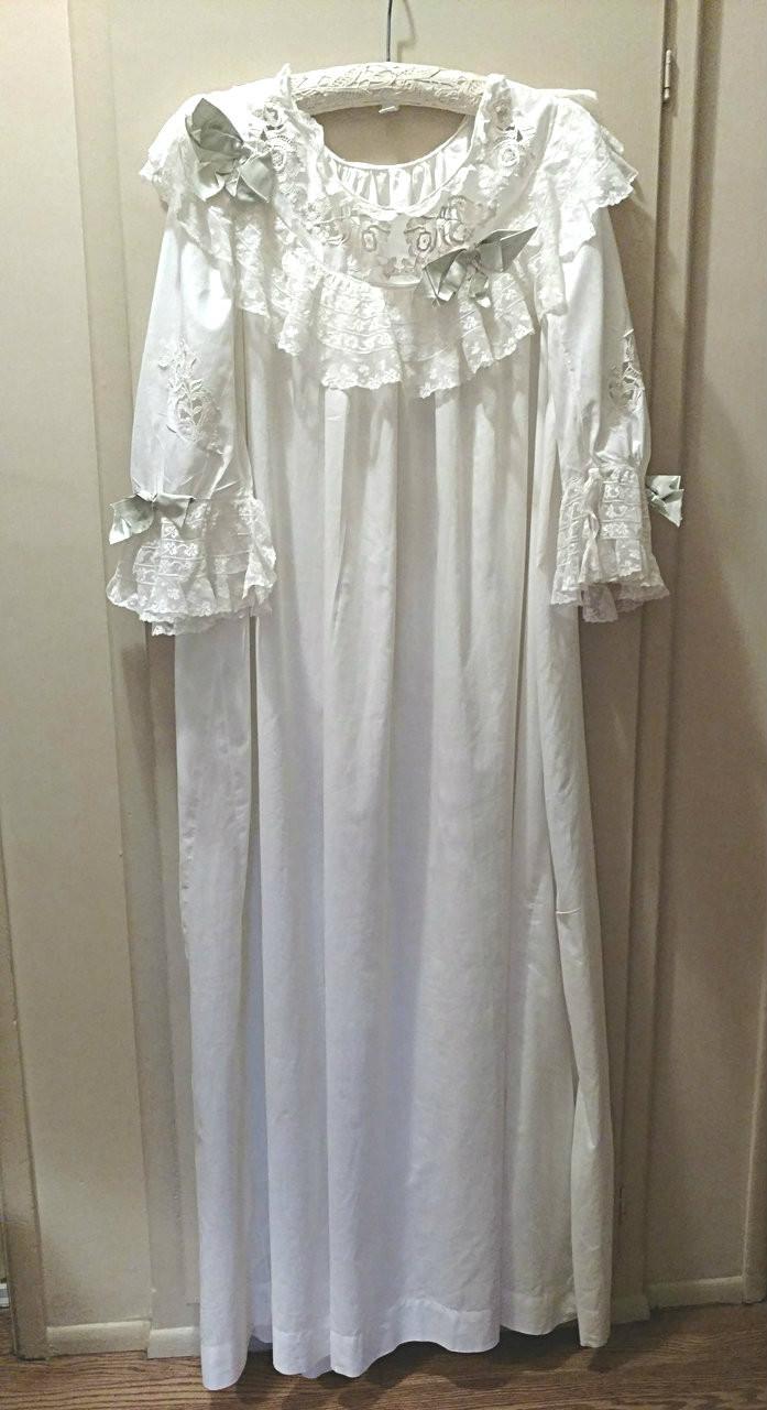 1900 Victorian Trousseau Night Gown Valenciennes Lace Batiste Cotton ... 3cb6f0b4f