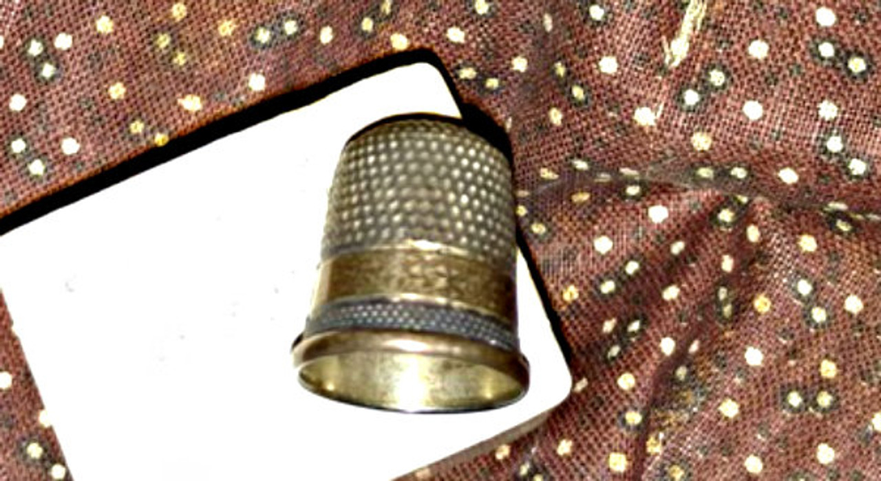 19th Century Child Thimble Antique Brass Silver Metal Sewing