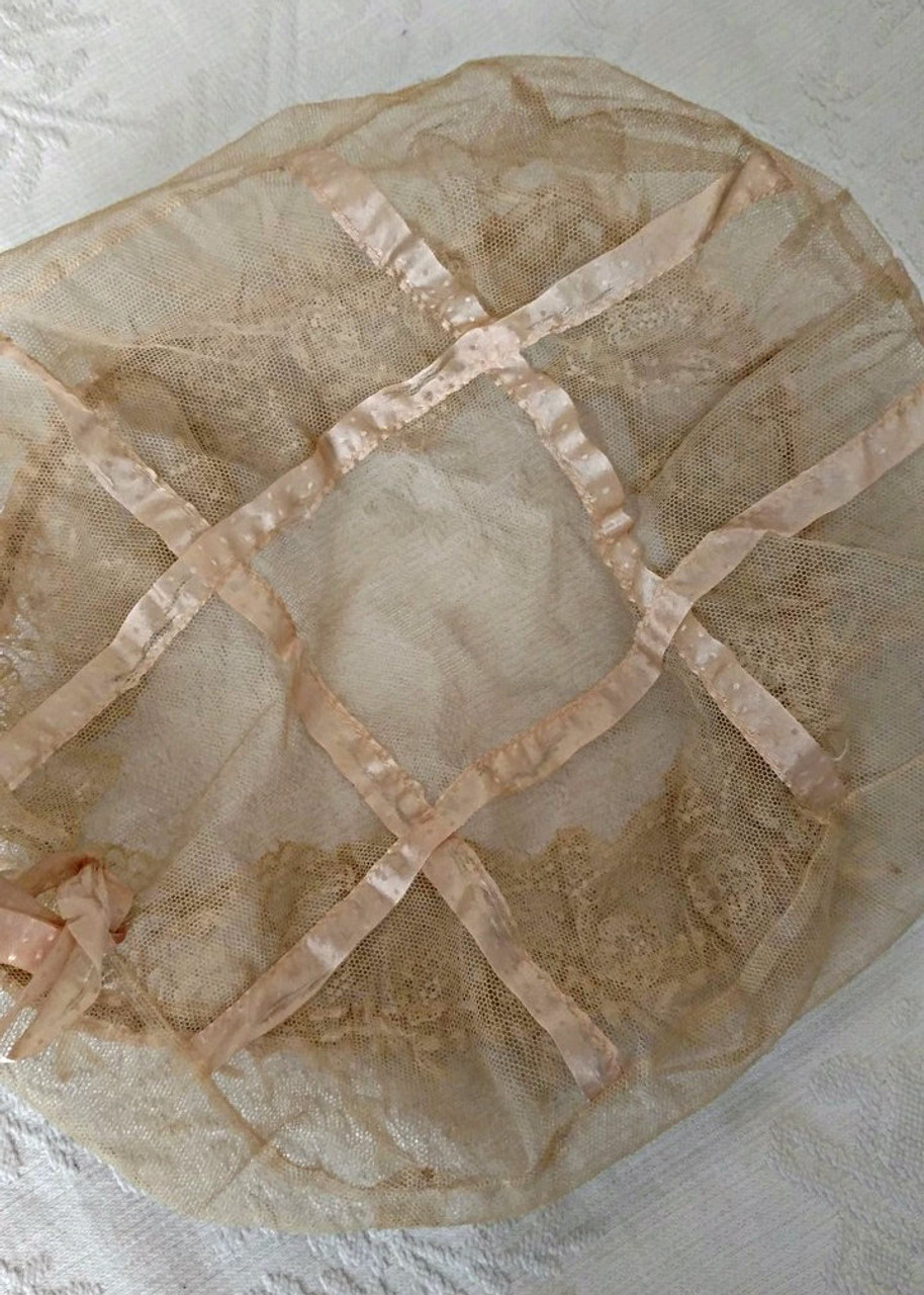 Flapper 1920s Bed Bonnet Cap Tulle Net Lace Ribbon Trim