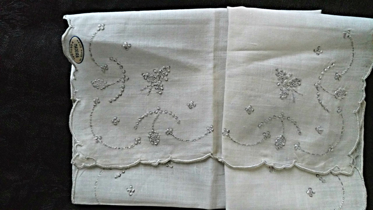 Vintage Madeira Embroidery White Wedding Handkerchief