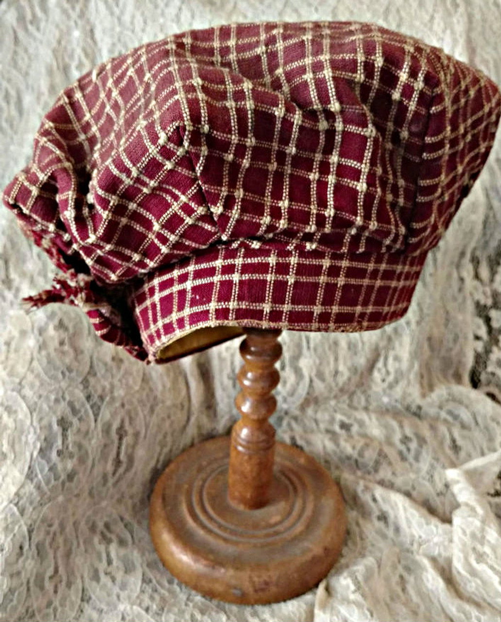 Boy Victorian Fabric Tam Hat 1870s 1890s American Best Make Label