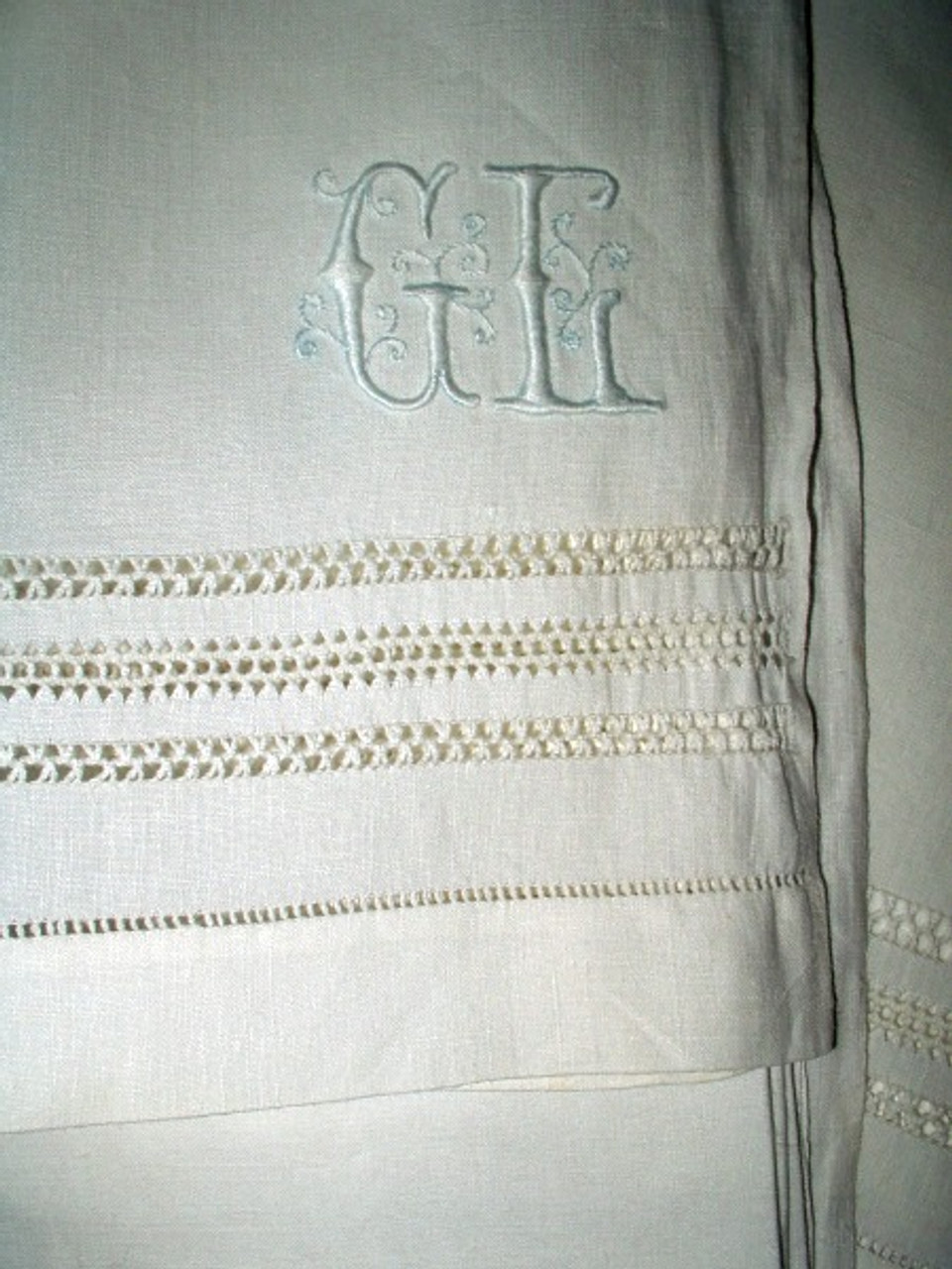 Antique Drawnwork Monogram Linen Bed Sheet  Edwardian 1920's Bedding