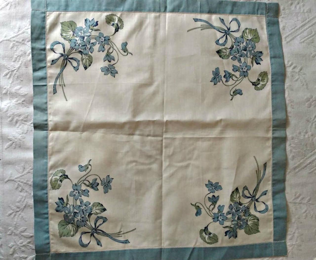 Vintage Victorian Edwardian Cotton Hankie Handkerchief  Blue Bouquet