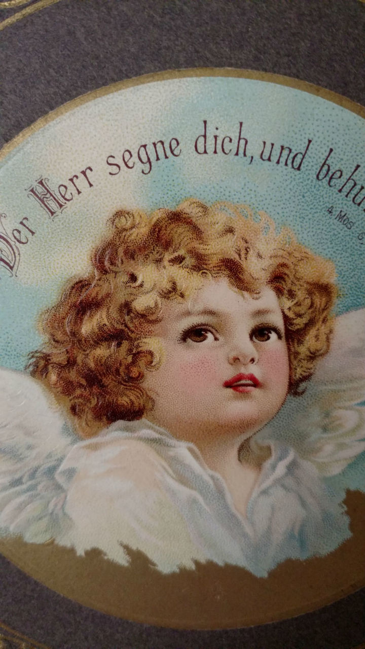 German Victorian Lithograph Angel Cardboard Religious Scripture