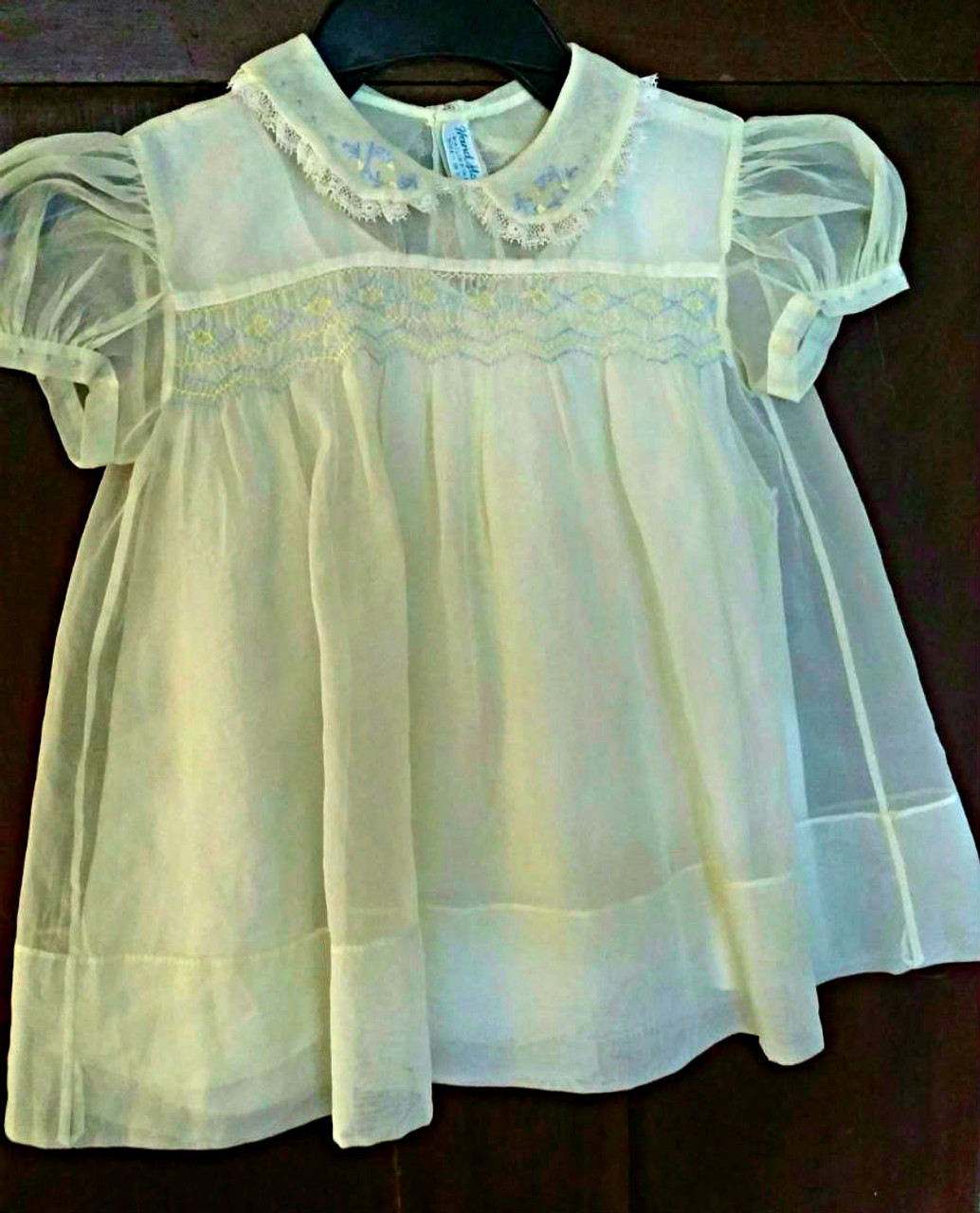 Vintage 1940s Baby Dress Slip Organdy Hand Made Philippines