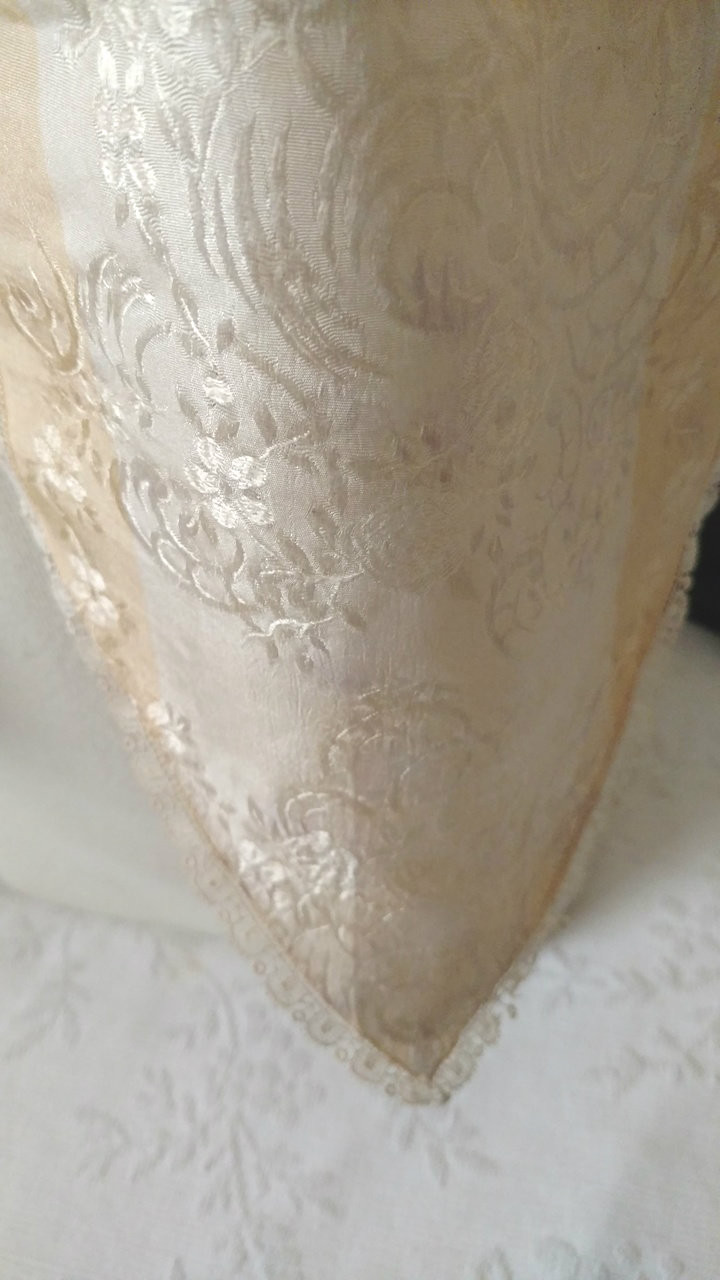 Victorian Lappet Collar Silk Woven Embroidery Ribbon Cream Gold