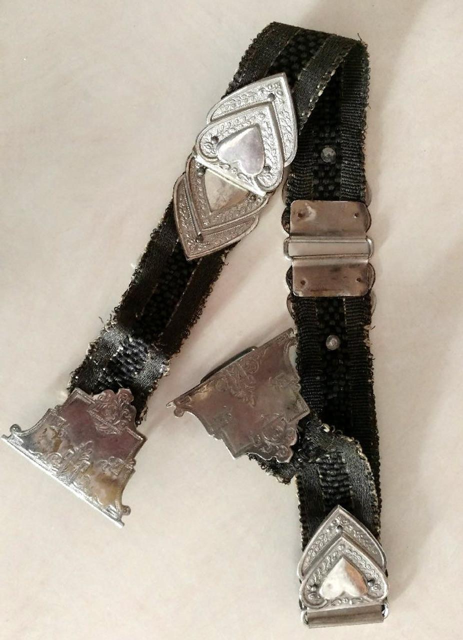 Edwardian Dress Sash Belt Woven Antique Cloth Metal Hearts Clasp