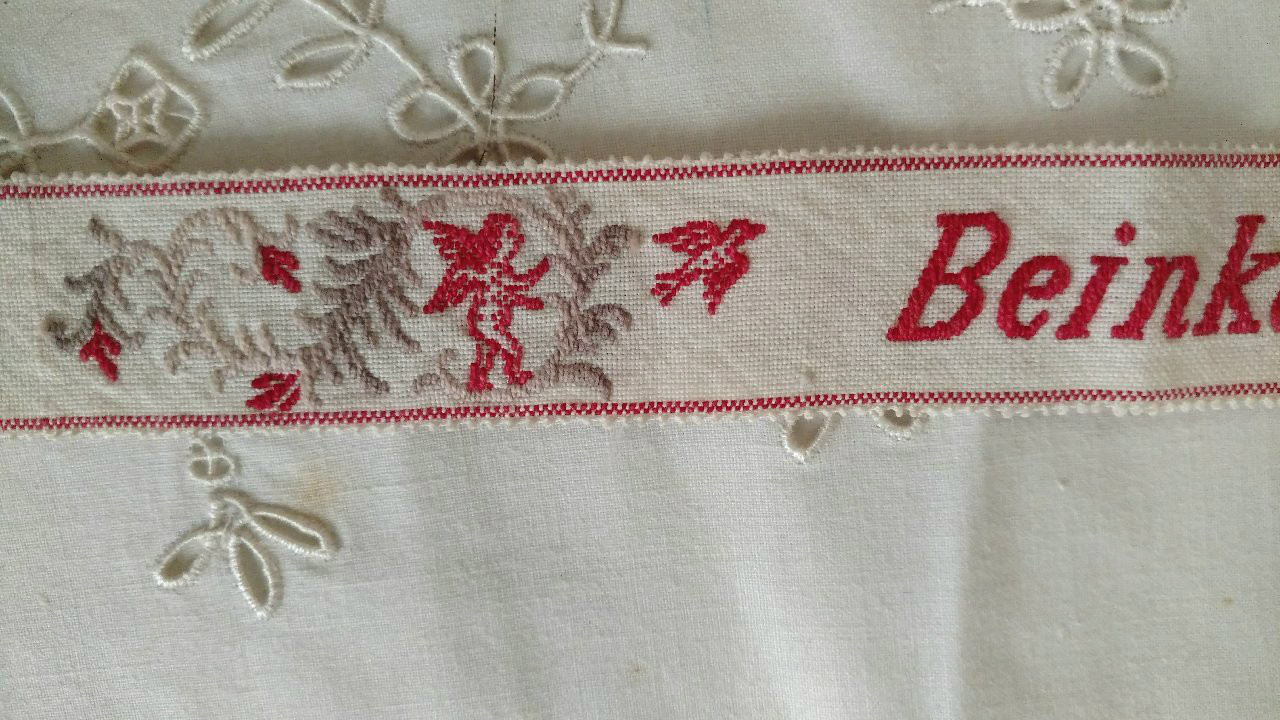 Woven Berlin Embroidery Stocking Garter 19th Century German Cupids Birds