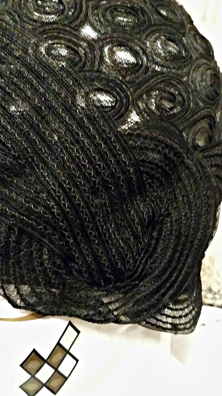 Black Horsehair Flapper Cloche Hat 1920s Helmet Style Millinery