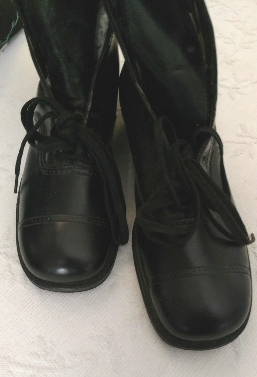 Vintage 1920's Boy Shoes Black Leather Red Goose Tie Unworn Old Stock