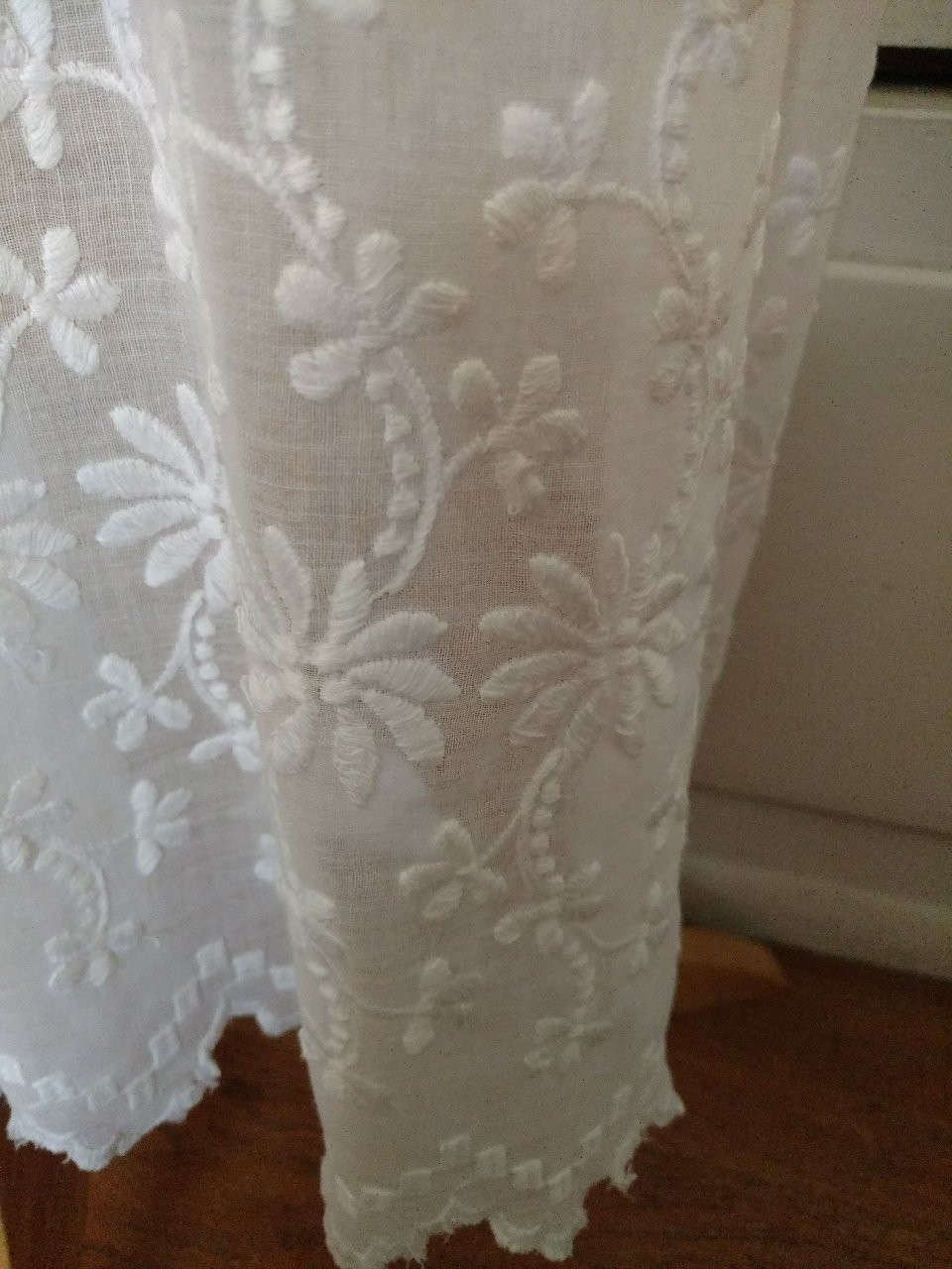 Antique White Edwardian Dress Batiste Embroidery Summer Graduation Wedding
