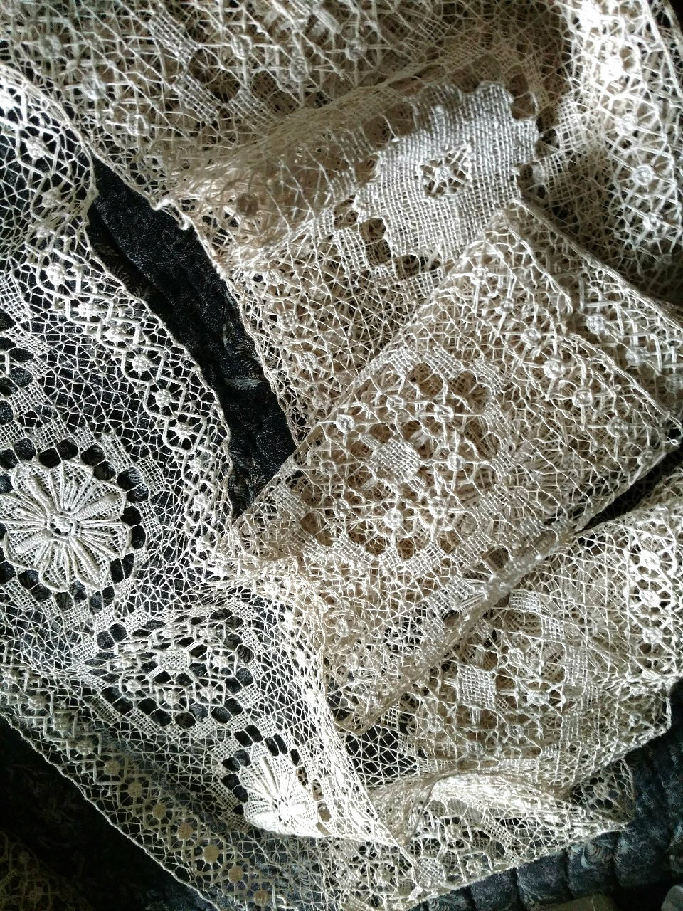 Old Darn Knotted Lace Antique Yardage  7 Yards  Unused Embellishment