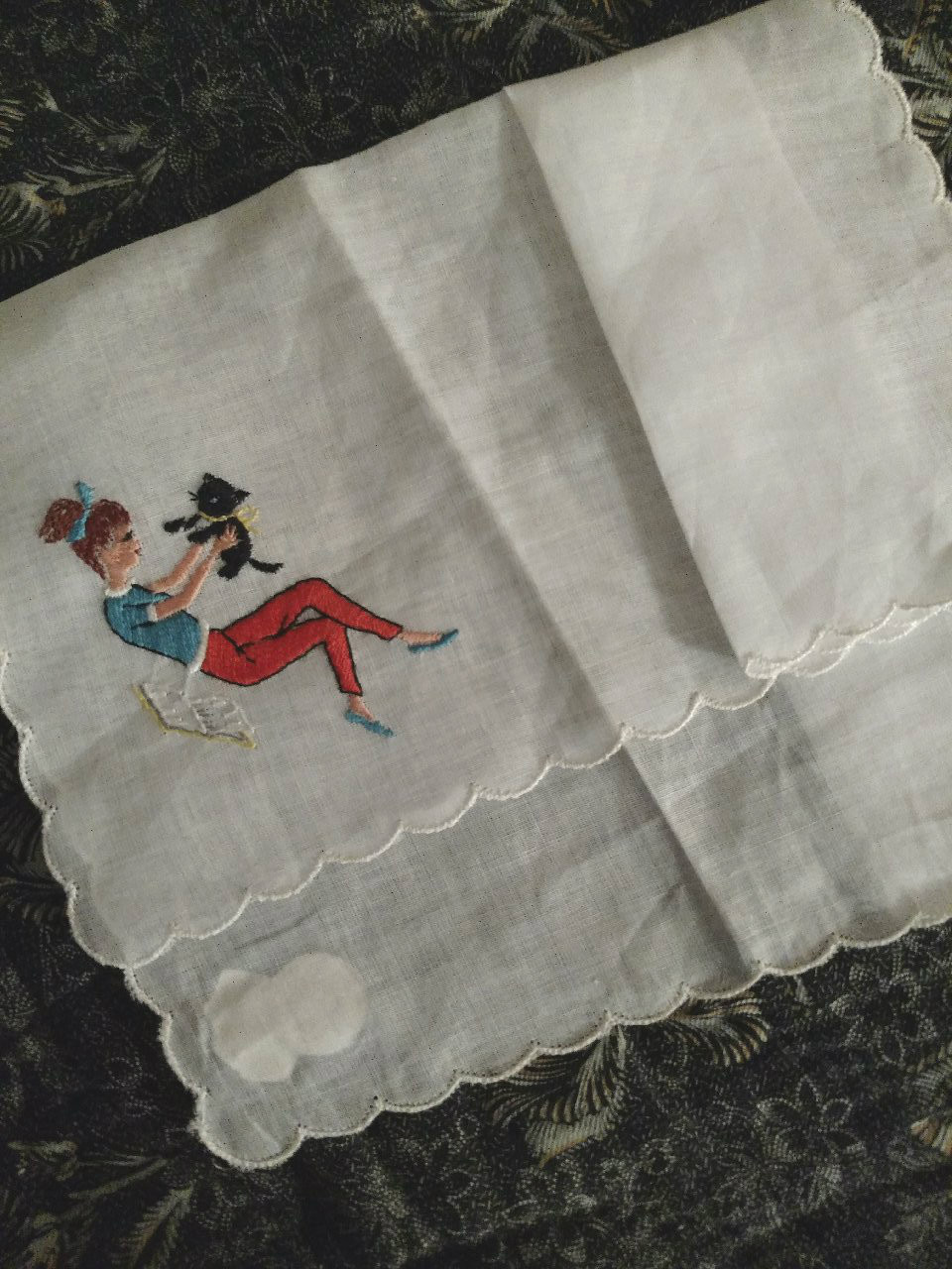 1950s Desco Hankie Handkerchief Ponytail Girl Cat Embroidery Unused