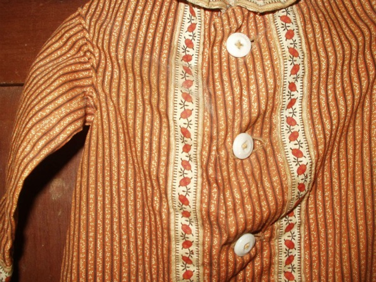 Antique Civil War Brown Calico Doll Dress China Buttons Border Print