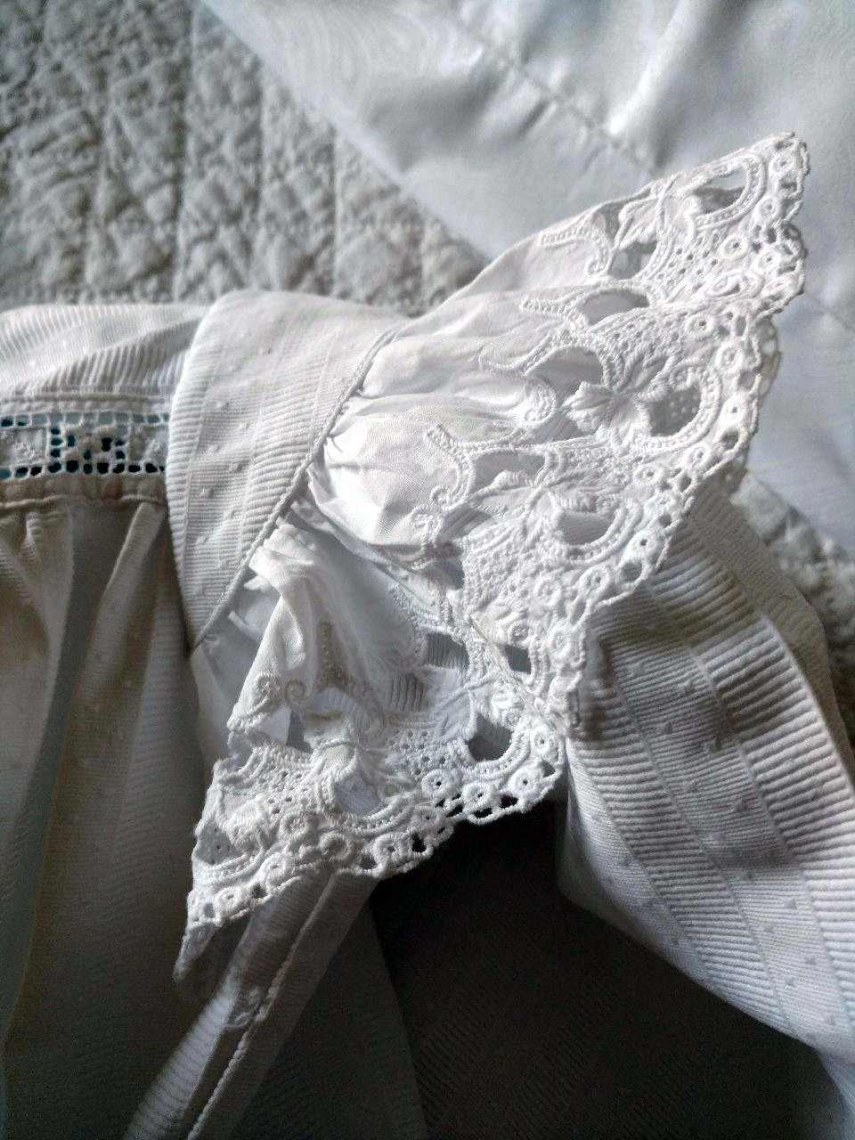Girl Victorian Dress White Pique Fabric Whitework Embroidery Ruffle Sleeves
