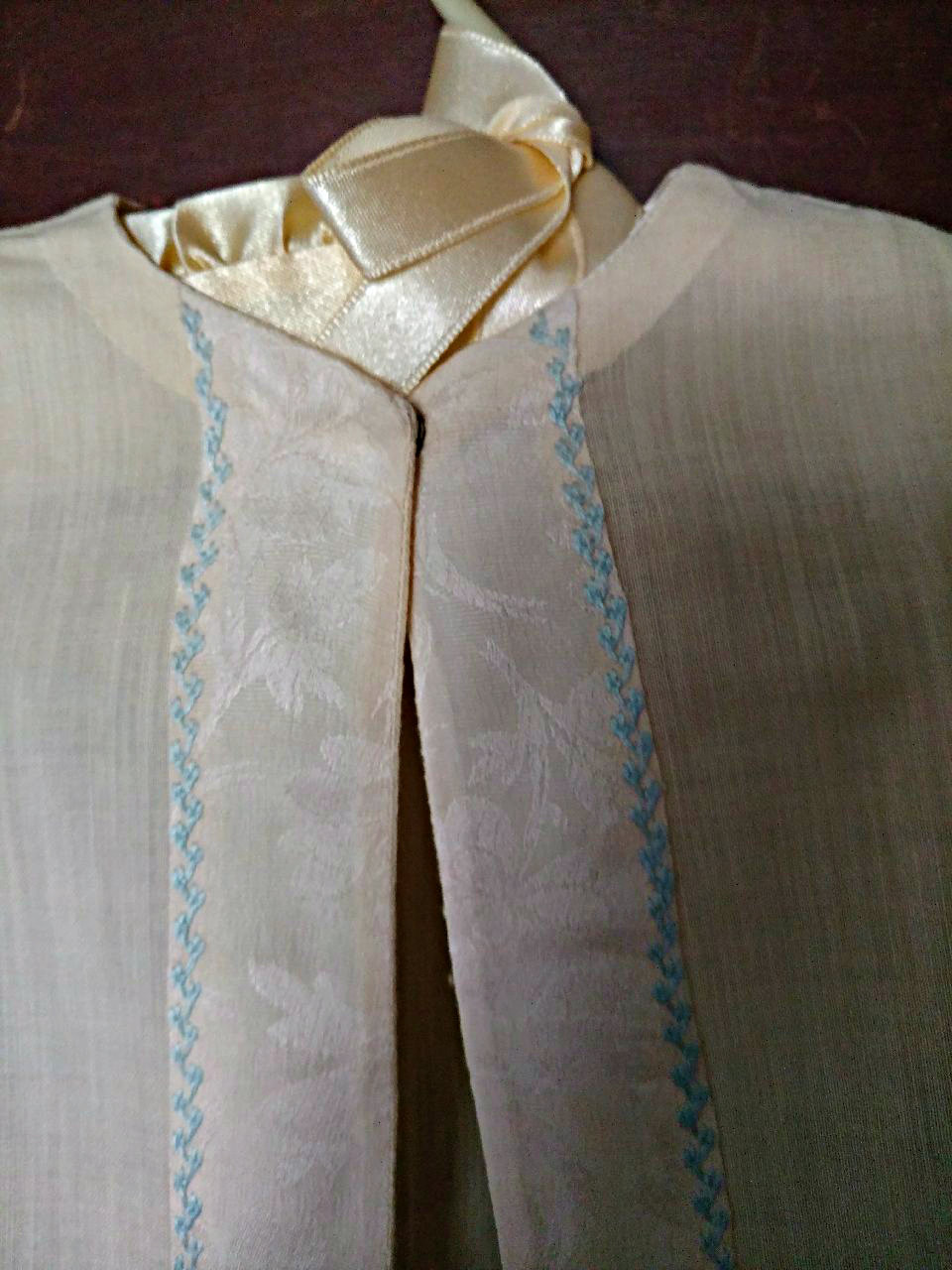 1920s Baby Nightgown Long Cream Silk Wool Brocade Ribbon Blue Embroidery Trim